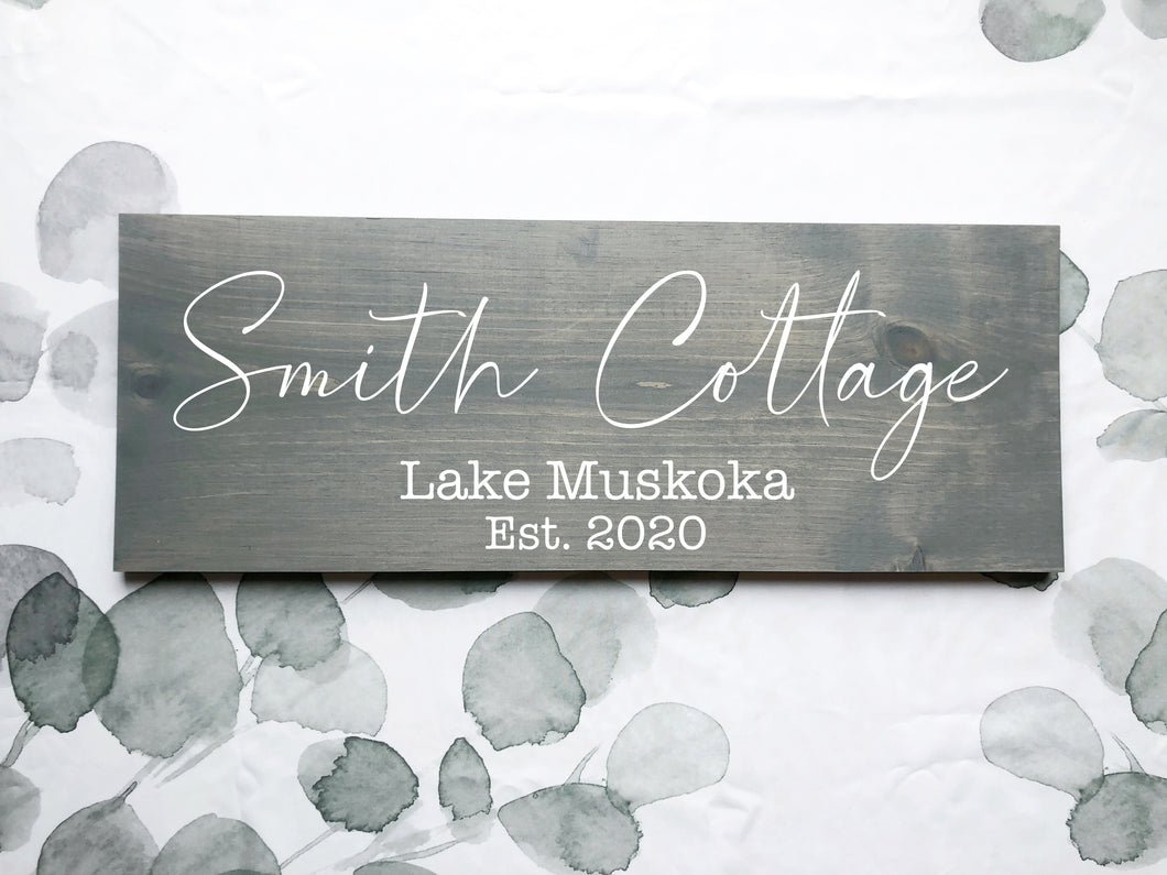 custom wood cottage sign