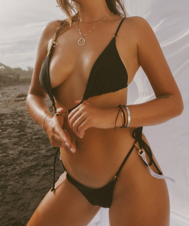FIRE TRIANGLE BIKINI TOP BLACK