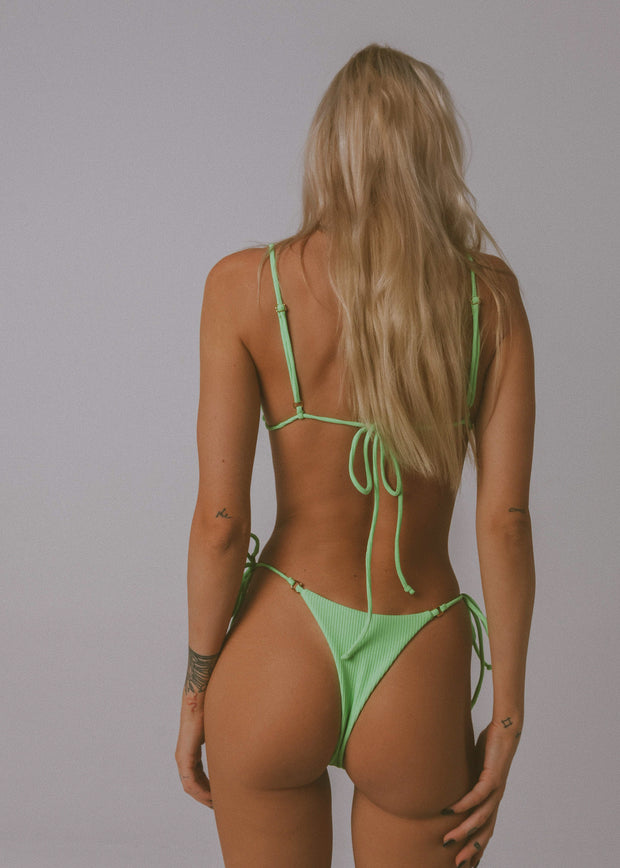 FIRE TIE UP BIKINI BOTTOM NEON GREEN