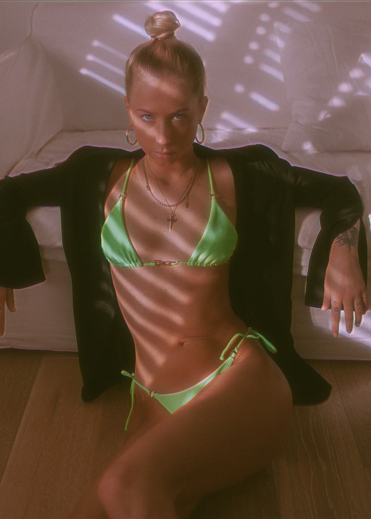 FIRE TRIANLGE BIKINI TOP NEON GREEN