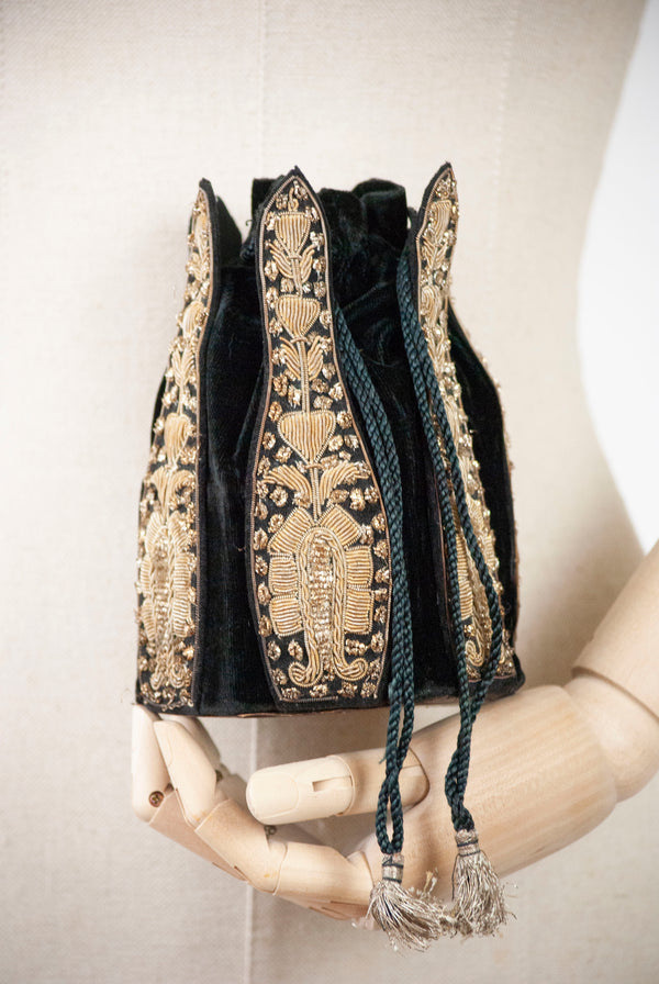 1920's Silk Velvet Embroidered Bag