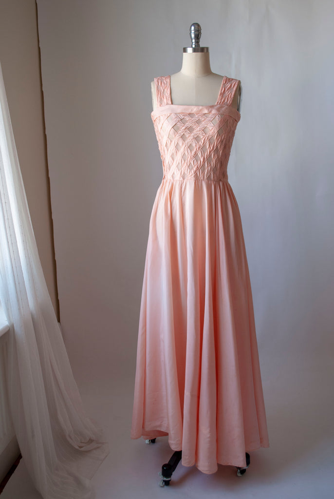 1940's Lattice Bodice Gown