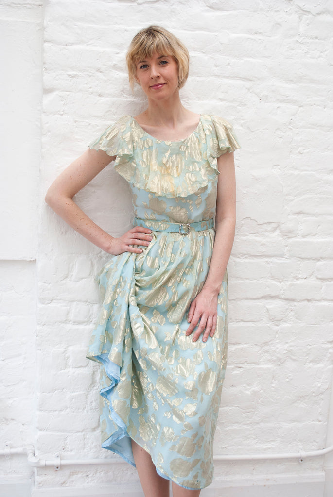 1970's Chiffon and Lamé Dress