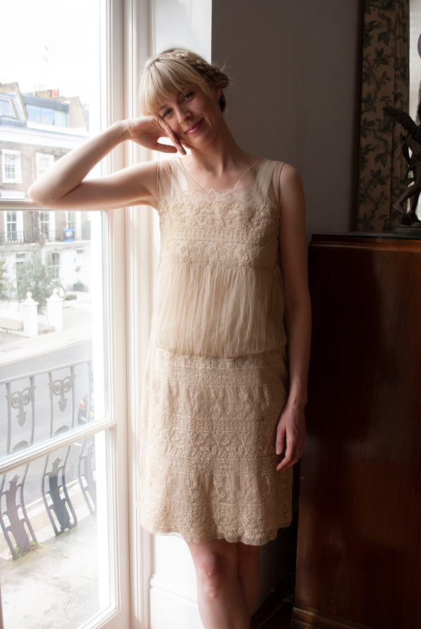 1920's Embroidered Net Dress