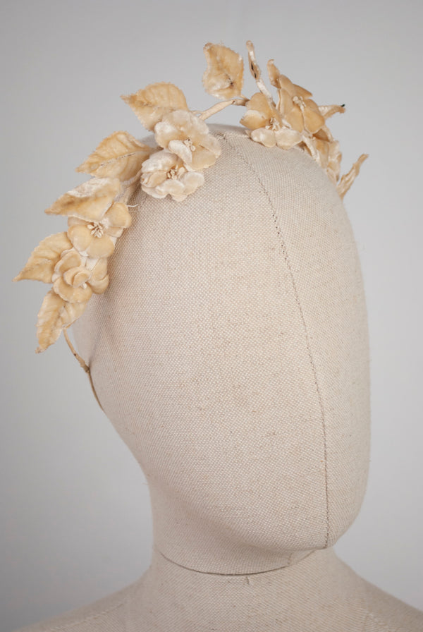 1930's Silk Velvet Headdress