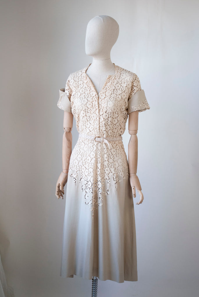 1940's Lace and Linen Dress