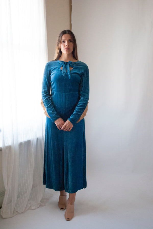 1930's Cotton Velvet Dress