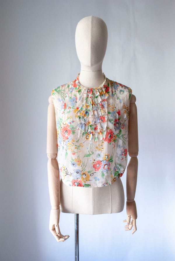 1930's Printed Cotton Blouse