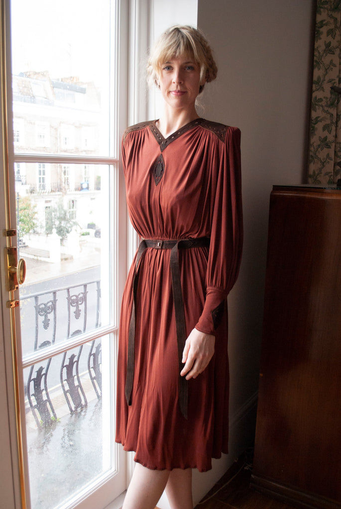 1970's Jean Muir Silk Jersey Dress