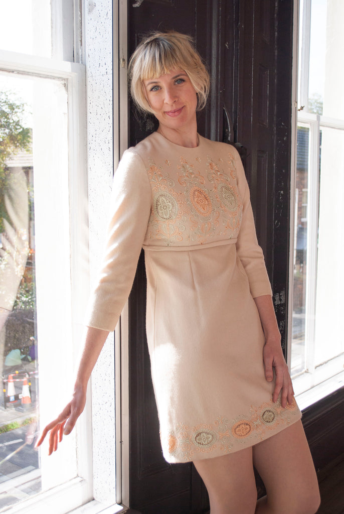 1960's Embroidered Wool Dress