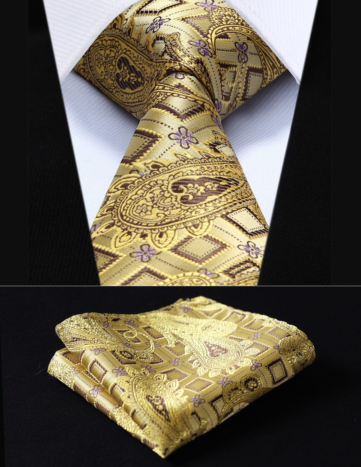 "Party Wedding Classic Pocket Square Tie TFC013D8S Gold Check 3.4"" Silk Wovenmodkily-modkily"