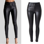 Women's Sexy Faux Leather Stretch Skinny Pants Lady Black High Waisted Slimmodkily-modkily