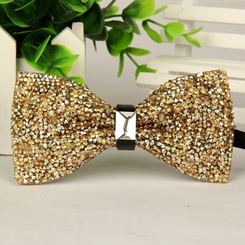 fashion 2016 mens High-grade gold diamond crystal gem bow tie 12cm-6cmmodkily-modkily