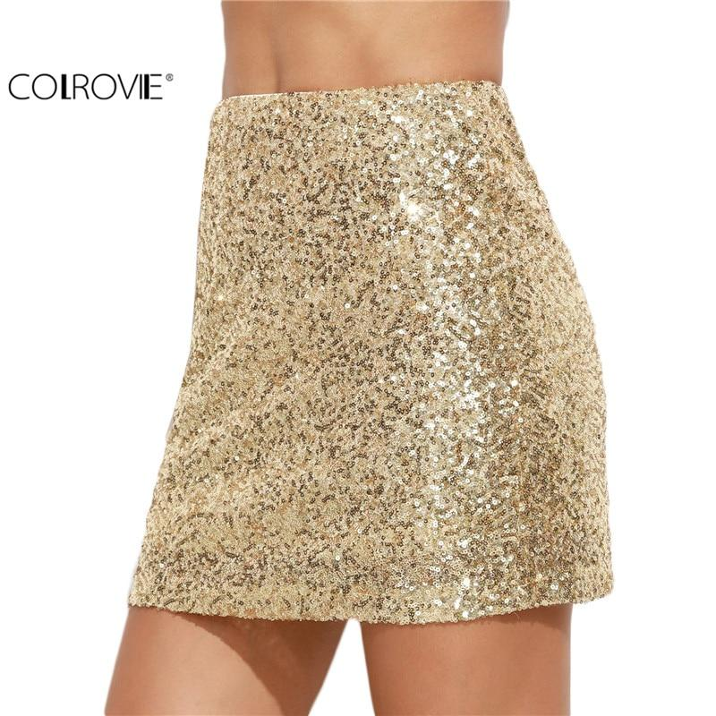 Women Short Skirt Korean Women Clothing Sexy Clubwear Solid Gold Embroideredmodkily-modkily
