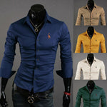 New 2014 Spring Casual Giraffe Embroidery Solid Color Mens Dress Shirts Slimmodkily-modkily