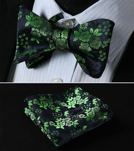 BF3001VS Green Navy Blue Folral Bowtie Men Silk Self Bow Tie handkerchiefmodkily-modkily