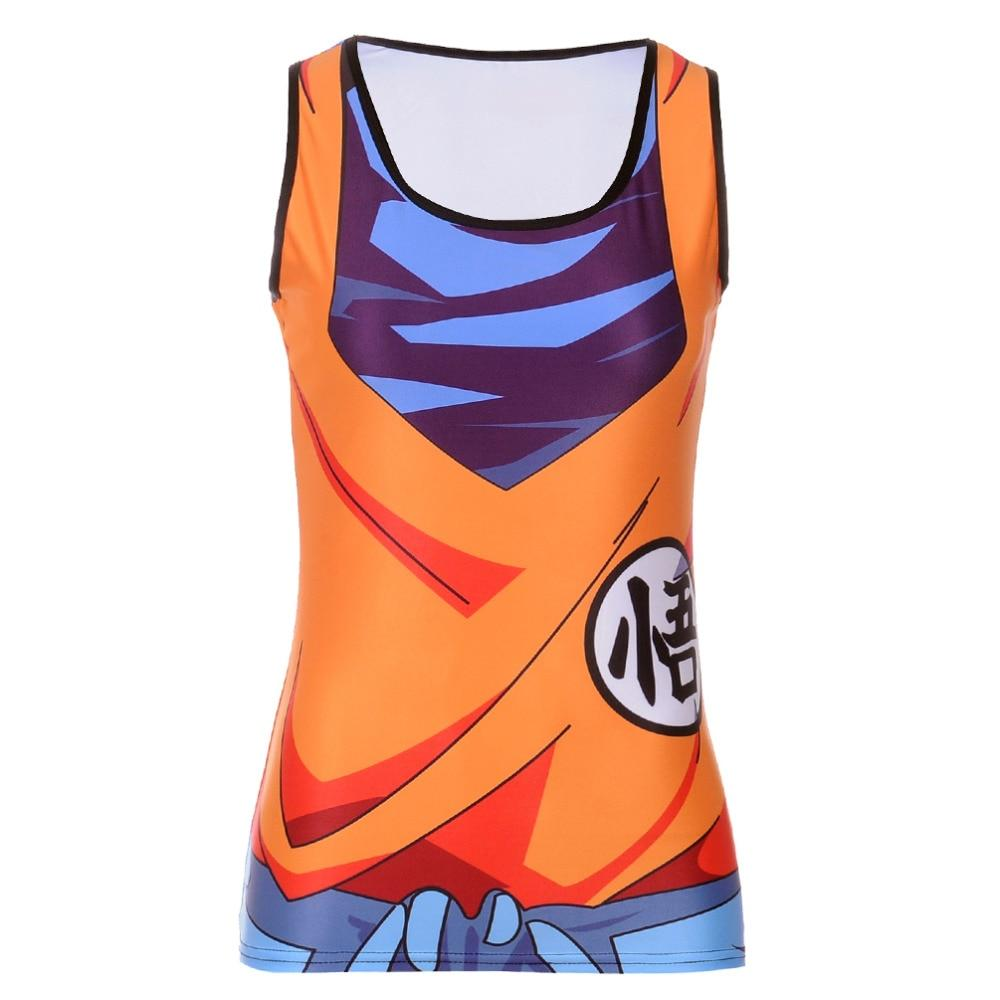Fashion Summer Woman Lady Sleeveless Blouse O-Neck Saiyan Goku Dragon Ball Narutomodkily-modkily