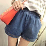 Summer Casual Beach Soft Loose Jeans Short For Women Elastic Waist Plusmodkily-modkily
