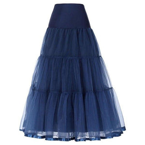 Women High Waist Pleated Skirt 2017 Long Tutu Tulle Skirts Straight Blackmodkily-modkily