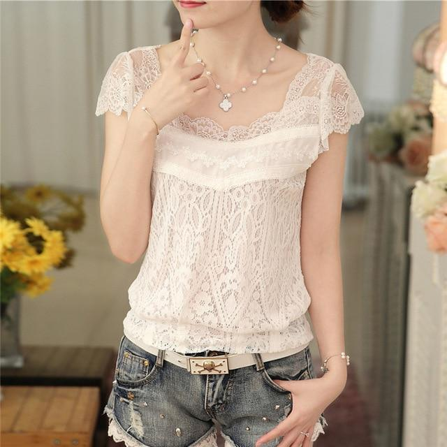 summer 2016 new Korean style v-neck female blouse Short -sleeve white lacemodkily-modkily
