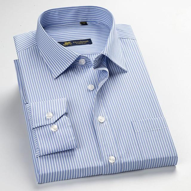 Classic Striped Men Dress Shirts Long Sleeve Plus Size Business Formal Shirtsmodkily-modkily