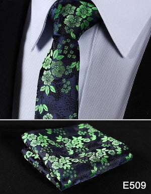 "Floral 2.17"" Slim Narrow Fashion Tie Necktie Mens Pocket Square handkerchief setmodkily-modkily"