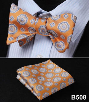 Ftoral 100%Silk Jacquard Woven Men Butterfly Self Bow Tie BowTie Pocket Squaremodkily-modkily