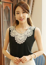New 2017 Fashion Elegant Diamond Crochet Lace Sleeveless Pleated Chiffon Top, Summermodkily-modkily