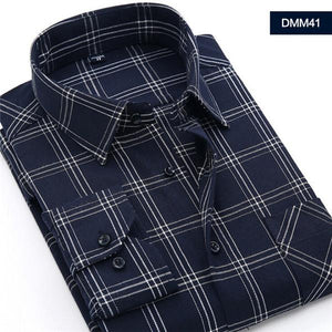 Men Shirts Social Long Sleeve Plaid Brand Mens Fashion Brushed Flannel Casualmodkily-modkily