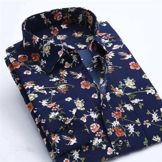 2016 Men Retro Floral Printed Shirts Fashion Classical Man Long Sleeve Slimmodkily-modkily