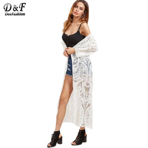 Women Blouses White Embroidered Sexy Mesh Longline Kimono Long Sleeve Beachmodkily-modkily