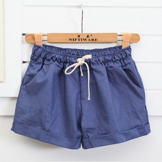 Women' Summer Cotton Shorts Female Plus Size Casual Elastic High Waist Solidmodkily-modkily