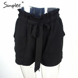 Simplee summer new style chiffon shorts Bow high waist belt shortsmodkily-modkily