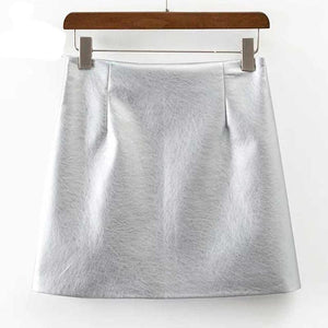 Gold Satin Women Soft PU Leather Skirt Slim Hip A-line Skirts Vintagemodkily-modkily