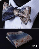 Paisley Floral Houndstooth Silk Jacquard Woven Men Butterfly Self Bow Tie BowTiemodkily-modkily