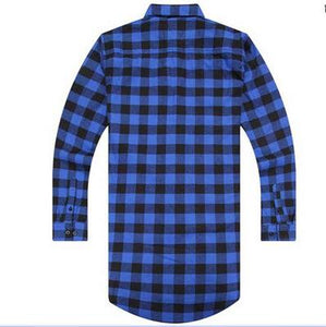 Red Blue Scottish Plaid Long Sleeve Flannel shirt Men Dance Shirtmodkily-modkily