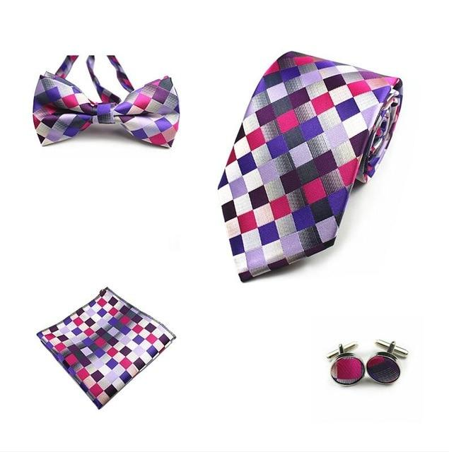 4PCS Tie Set Men Bow Tie and Handkerchief Bowtie Cufflinks 8cmmodkily-modkily