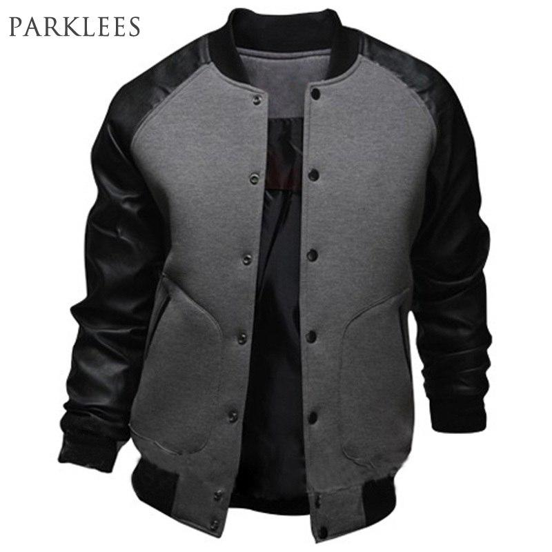 New Gray Baseball Jacket Men 2015 Fashion Design Black Pu Leather Sleevemodkily-modkily