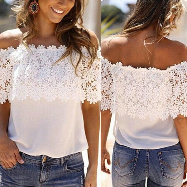 Fashion Women Summer Off Shoulder Chiffon Shirt Lace Crochet Casual Tops Blousemodkily-modkily