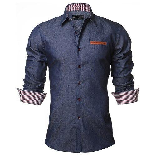 Men's Shirt 2017 Europe Size New Fashion Casual Long Sleeve Slimmodkily-modkily