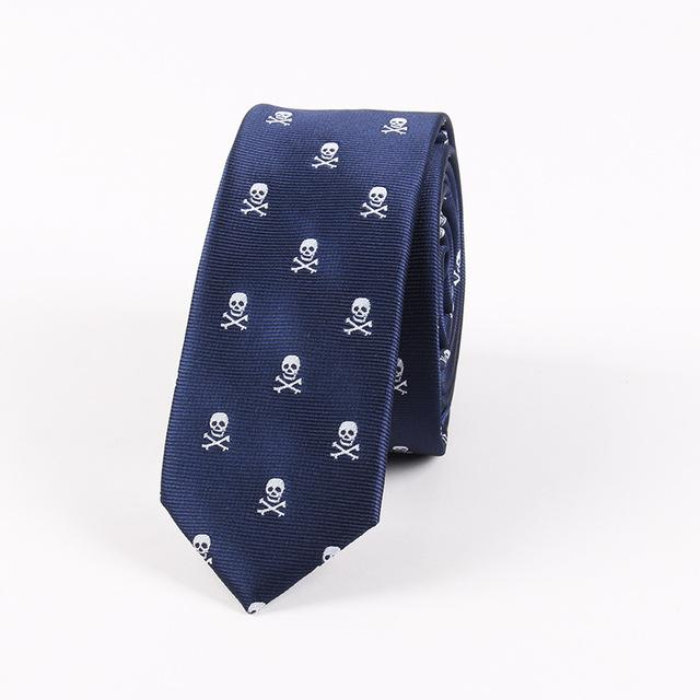 Bicycle Skull Pattern Ties for Men's Slim Neckties Polyester Jacquard Skinnymodkily-modkily