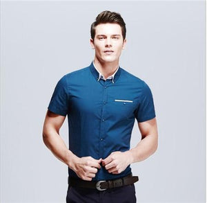 Men's Casual Shirts 2017 Spring Arrivals Fashion New Brand Solid Shortmodkily-modkily