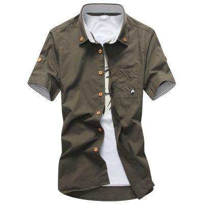 fashion male Summer slim Fit leisure cotton short sleeve shirt/Male high-grademodkily-modkily