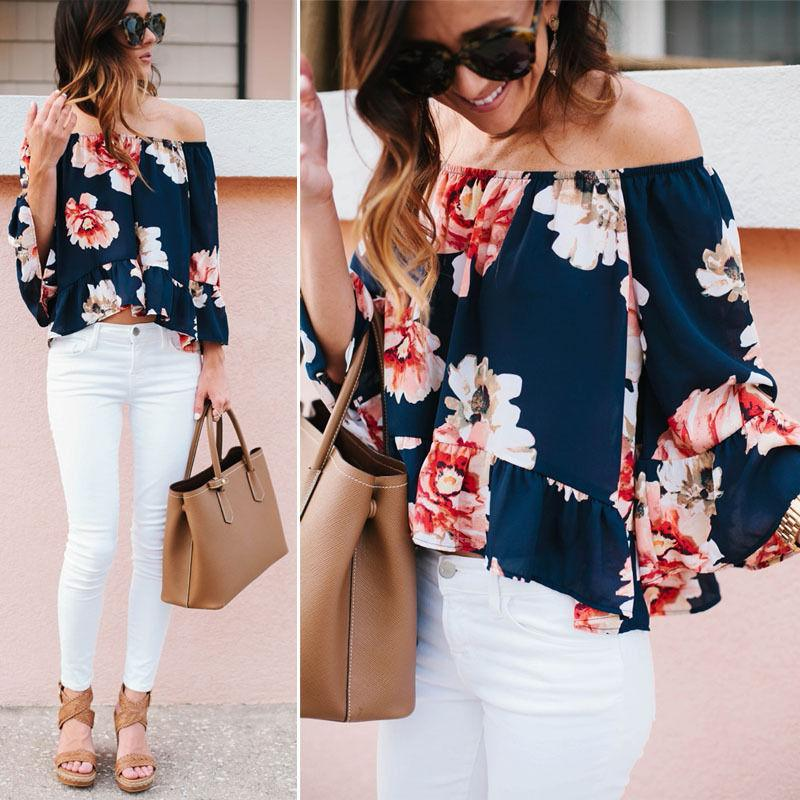 New Fashion Summer Autumn Sexy Off Shoulder Women Chiffon Blouse Casual Printedmodkily-modkily
