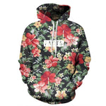 Mr.1991INC Autumn Winter Fashion Men/women Hoodies With Cap Print Red Flowers Greenmodkily-modkily