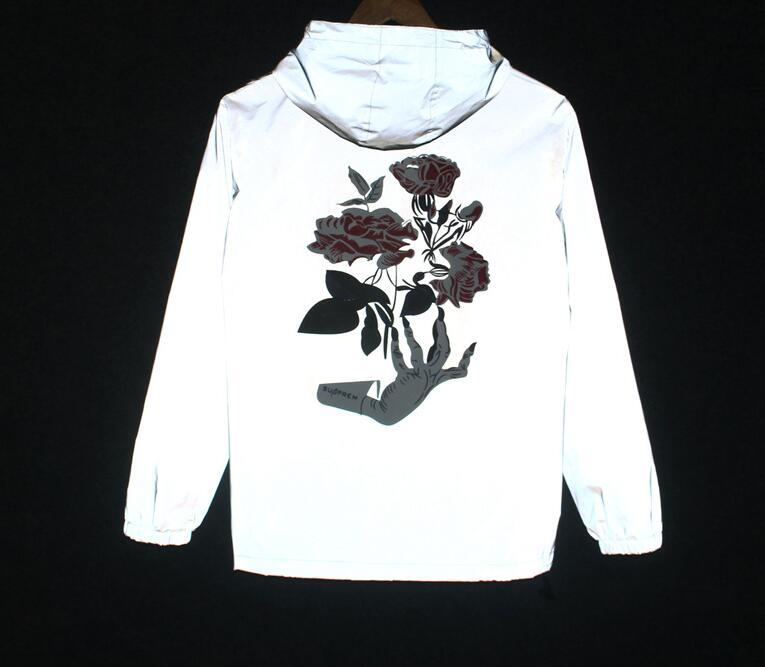 Spring/autumn Hand Flowers Men windbreaker 3m reflective jacket casual hip hopmodkily-modkily