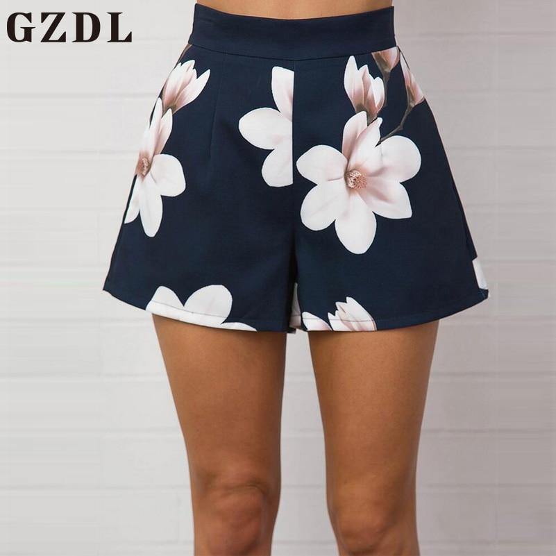 Fashion Navy Blue Floral Print Women Shorts Summer High Waist Casualmodkily-modkily