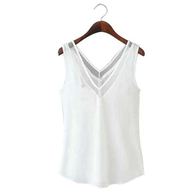 Fashion Chiffon Slim Loose Women Tops V-Neck Sleeveless Vest Shirt Backless Blousemodkily-modkily