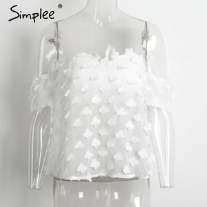Simplee Tube off shoulder blouse shirt women tops Transparent white chiffon blousemodkily-modkily