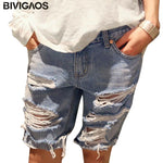 Summer Womens Loose Denim Shorts Beggar Hole Ripped Jeans Shorts Ladiesmodkily-modkily